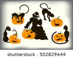 set of cats and pumpkins for... | Shutterstock .eps vector #502829644