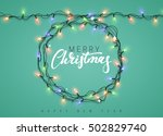 glowing christmas lights wreath ... | Shutterstock .eps vector #502829740