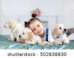 child with little dogs playing... | Shutterstock . vector #502838830