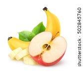 isolated apple and banana. half ... | Shutterstock . vector #502845760