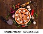 italian pizza with mushrooms ... | Shutterstock . vector #502856368