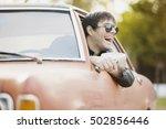 handsome male model posing in... | Shutterstock . vector #502856446