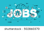word jobs  line flat vector... | Shutterstock .eps vector #502860370