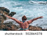 woman straightened her hands on ...   Shutterstock . vector #502864378