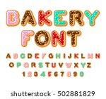 bakery font. donut abc. baked... | Shutterstock .eps vector #502881829