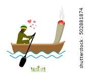rasta life. rastaman and joint... | Shutterstock .eps vector #502881874