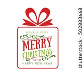 christmas gift with greetings | Shutterstock .eps vector #502883668