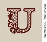 carved flower pattern. elegant... | Shutterstock .eps vector #502884703