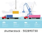 Container Sea Port Info Graphics