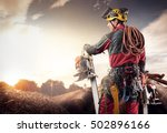 lumberjack with chainsaw... | Shutterstock . vector #502896166