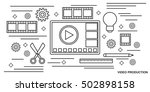 video production thin line art... | Shutterstock .eps vector #502898158