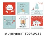 set of 6 cute gift cards and... | Shutterstock .eps vector #502919158
