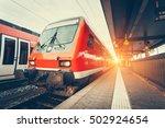 modern high speed red commuter... | Shutterstock . vector #502924654