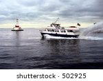 High speed ferry on the Great Lakes - stock photo