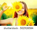 beauty joyful teenage girl with ... | Shutterstock . vector #502928584