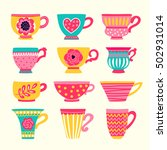 collection of stylized teacups. ... | Shutterstock .eps vector #502931014
