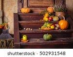autumn still life with pumpkins | Shutterstock . vector #502931548