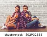 stylish teenage couple in... | Shutterstock . vector #502932886
