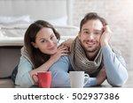 cheerful optimistic couple... | Shutterstock . vector #502937386