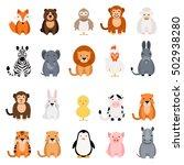 cute vector animal set on white ... | Shutterstock .eps vector #502938280