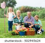 cheerful smiling family with... | Shutterstock . vector #502945624