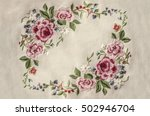 Frame Of Embroidery Pink Roses...