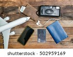 model airplane  camera  card... | Shutterstock . vector #502959169