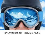 a mountain range reflected in... | Shutterstock . vector #502967653