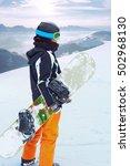 female snowboarder  standing... | Shutterstock . vector #502968130