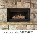 Burning Natural Gas Fireplace...