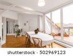 dining room with big dinner... | Shutterstock . vector #502969123