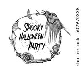spooky halloween party sign and ... | Shutterstock . vector #502970338