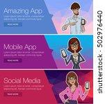 flat design concept for social... | Shutterstock .eps vector #502976440