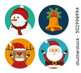 set christmas santa deer... | Shutterstock .eps vector #502998994