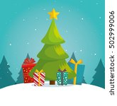 green tree christmas gifts... | Shutterstock .eps vector #502999006