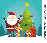 cheerful santa tree ball and... | Shutterstock .eps vector #502999030