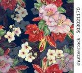 amaryllis in bouquet seamless... | Shutterstock . vector #503021170