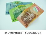 brunei dollar notes on white... | Shutterstock . vector #503030734