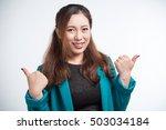 thumb up. business woman... | Shutterstock . vector #503034184