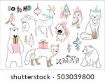 christmas hand drawn doodle... | Shutterstock .eps vector #503039800