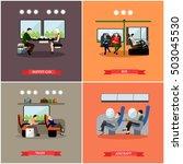 passengers in public transport... | Shutterstock .eps vector #503045530
