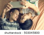 lgbt lesbian couple moments...   Shutterstock . vector #503045800