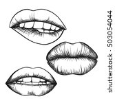 a set of lips. open mouth with... | Shutterstock .eps vector #503054044