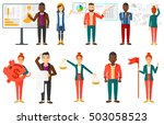 businessman pointing at charts... | Shutterstock .eps vector #503058523