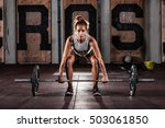 muscular young fitness woman... | Shutterstock . vector #503061850