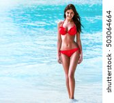 woman with perfect body in red... | Shutterstock . vector #503064664