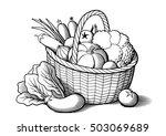vegetables in wicker basket.... | Shutterstock .eps vector #503069689