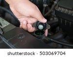 closeup hand open valve metal... | Shutterstock . vector #503069704