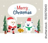 christmas card with santa claus ... | Shutterstock .eps vector #503070043