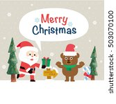 christmas card with santa claus ... | Shutterstock .eps vector #503070100
